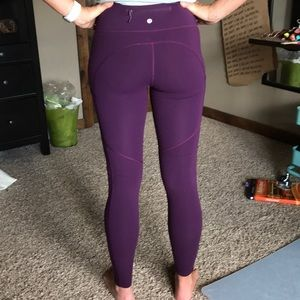 Lululemon burgundy speed up tights size 6